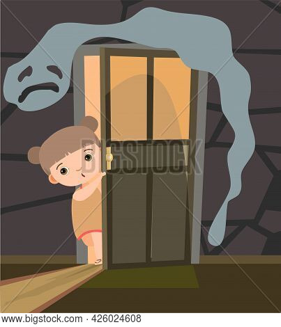 Childhood Fear. Girl Looks Into Dark Room Through An Open Door. Afraid Of Ghosts. Illustration For K