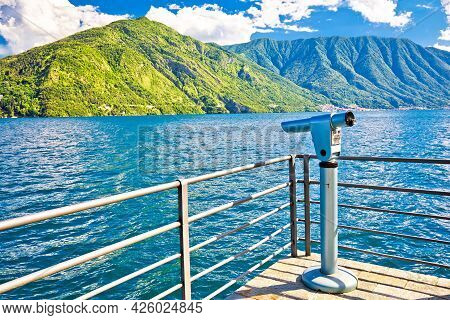 Como Lake Viewpoint In Town Of Tremezzo, Lombardy Region Of Italy