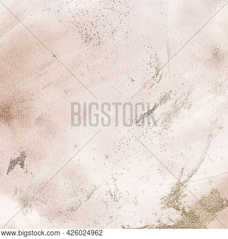 Silver Metallic Texture Minimalistic Beige Background, Acrylic Ink Splash