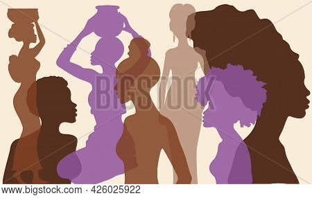 Silhouette Profile Group Of Women Of Diverse Culture. Diversity Multi-ethnic And Multiracial People.