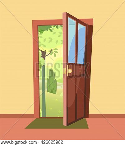 Opened Door. From Inside Of Room At Home. Summer Trees Landscape View. Yellow Wall. Way Is Open. Car