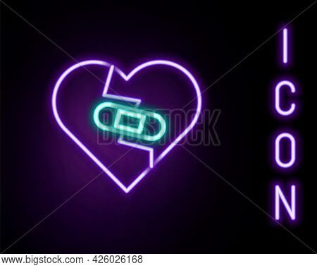 Glowing Neon Line Healed Broken Heart Or Divorce Icon Isolated On Black Background. Shattered And Pa