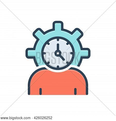 Color Illustration Icon For Lifespan Clock Life-cycle People Degenerate Age