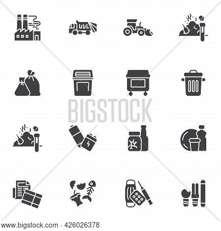 Garbage, Waste Vector Icons Set, Modern Solid Symbol Collection, Filled Style Pictogram Pack. Signs,