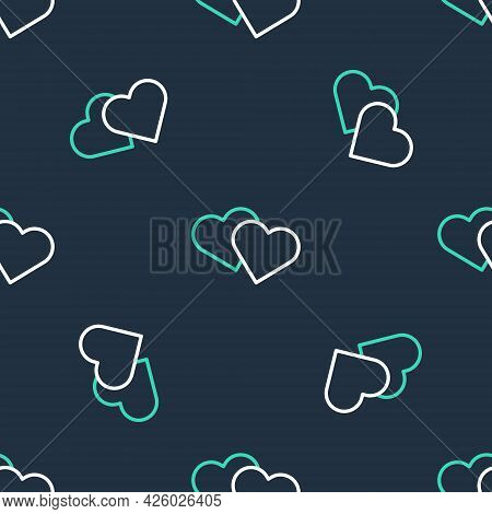 Line Heart Icon Isolated Seamless Pattern On Black Background. Romantic Symbol Linked, Join, Passion
