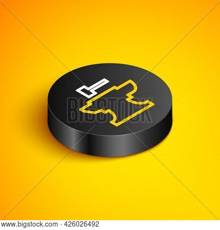 Isometric Line Anvil For Blacksmithing And Hammer Icon Isolated On Yellow Background. Metal Forging.