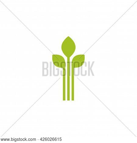 Green Sprouts, Sprigs, Raw With Silhouette Leaf. Icon Isolated On White. Logo For Eco Company, Agric