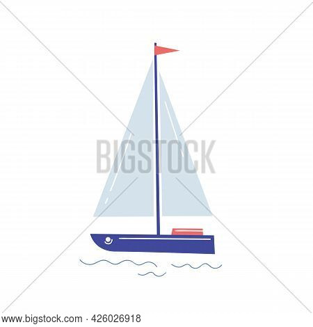A Yacht With A White Sail In The Style Of A Child`s Drawing. Seaman's Items On A Light Isolated Back