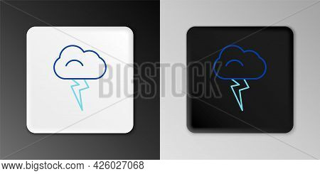 Line Storm Icon Isolated On Grey Background. Cloud And Lightning Sign. Weather Icon Of Storm. Colorf