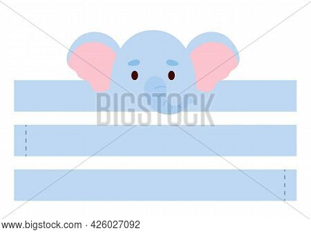 Printable Elephant Paper Crown. Diy Cut Party Ribbon Template For Birthday, Christmas, Baby Shower.