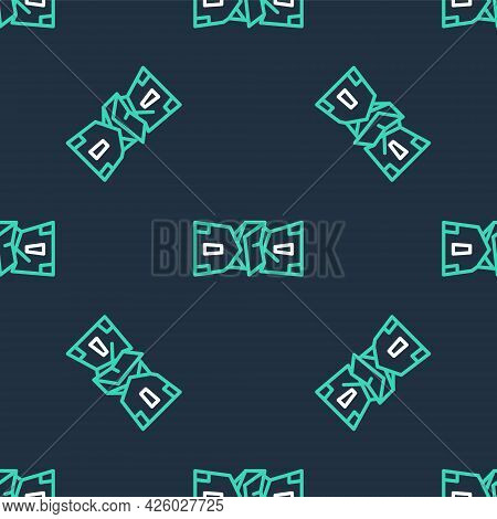 Line Crumpled Paper Money Cash Icon Isolated Seamless Pattern On Black Background. Money Banknotes S