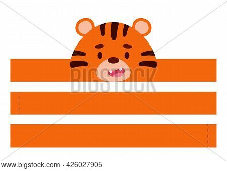 Printable Tiger Paper Crown. Diy Cut Party Ribbon Template For Birthday, Christmas, Baby Shower. Fun