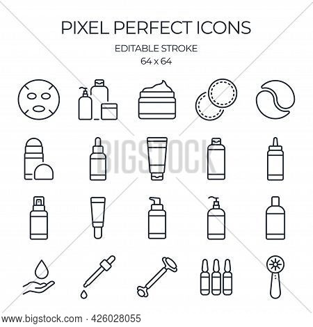 Skin Care Product Related Editable Stroke Outline Icons Set Isolated On White Background Flat Vector