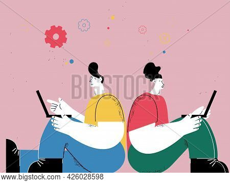 Man An Woman Working On Laptop, Freelance Job, Remote Work, Blogging, Co-working, Business Professio