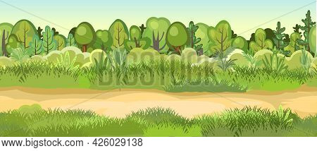 Flat Forest. Horizontal Seamless Composition. Cartoon Style. Road Glade. Funny Green Rural Landscape