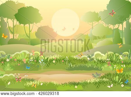 Glade. Amusing Beautiful Vegetation Landscape. Sun. Cartoon Style. Hills With Grass And Trees. Cool