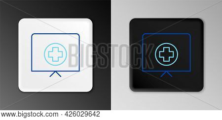 Line Nurse Hat With Cross Icon Isolated On Grey Background. Medical Nurse Cap Sign. Colorful Outline