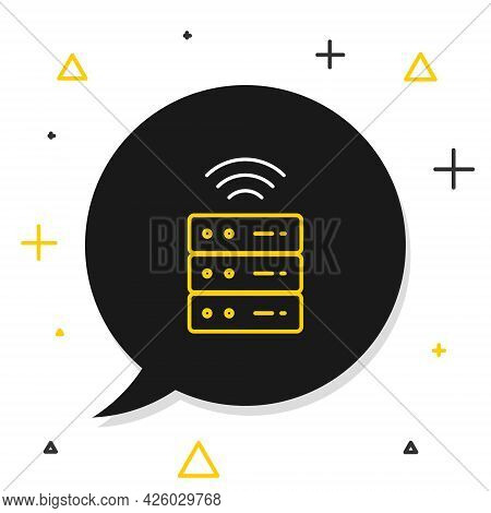 Line Smart Server, Data, Web Hosting Icon Isolated On White Background. Internet Of Things Concept W