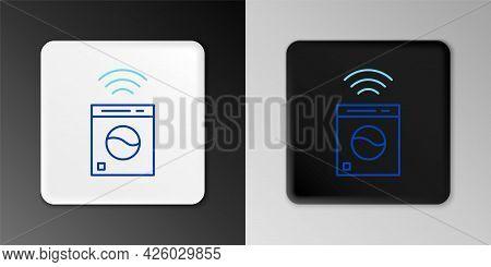 Line Smart Washer System Icon Isolated On Grey Background. Washing Machine Icon. Internet Of Things