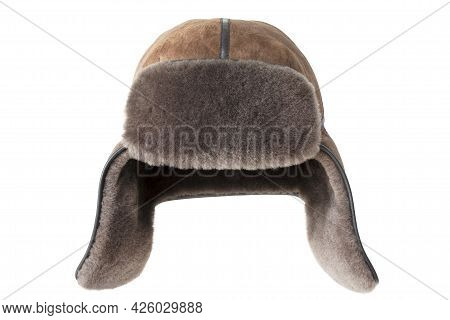 Fur Hat With Ear Flaps Isolated Over White