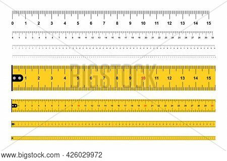 Measuring Rulers, Tape Measure. Ruler 100 Cm. Measuring Tool. isolated On White Background