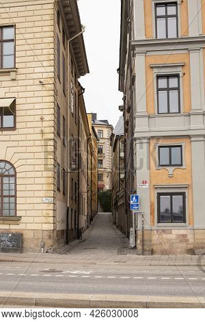 Stockholm, Sweden - September 24, 2017: Stockholm Narrow Streets Of The Old Town Of Gamla Stan, Stoc