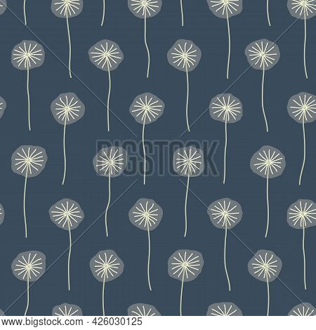 Blue Dandelion Puff Nature Themed Floral Seamless Repeating Vector Pattern. Beautiful Hand Drawn Vec