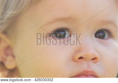 Portrait Of A Cute Baby Boy, Cropped Face. Close Up Caucasian Kids Face. Closeup Head Of Funny Kid.