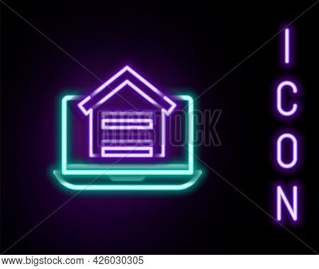 Glowing Neon Line Online Real Estate House On Laptop Icon Isolated On Black Background. Home Loan Co