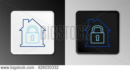 Line House Under Protection Icon Isolated On Grey Background. Home And Lock. Protection, Safety, Sec
