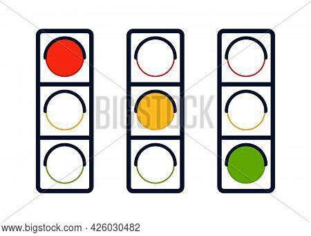 Signal Wait Traffic Light On Road, Signal Stoplight Coloring Icon Outline. Direction, Control, Regul