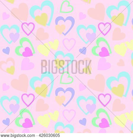 Pattern With Hearts, Wallpaper For Children\'s Room, Vector Seamless Delicate Pattern, Background Fo
