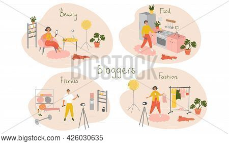 Set Of Bloggers And Vloggers Characters Making Internet Content. Peoples Creating Video For Their Bl