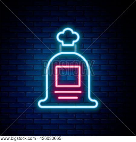 Glowing Neon Line Full Sack Icon Isolated On Brick Wall Background. Colorful Outline Concept. Vector