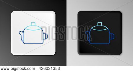 Line Kettle With Handle Icon Isolated On Grey Background. Teapot Icon. Colorful Outline Concept. Vec