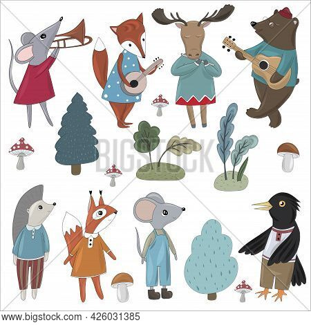 Large Collection Of Forest Animals. Fox, Mouse, Elk, Bear, Squirrel, Crow, Hedgehog And Trees And Mu