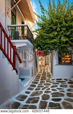 Beautiful Traditional Narrow Cobbled Streets Of Greek Island Towns. Whitewashed Houses, Souvenir Sho