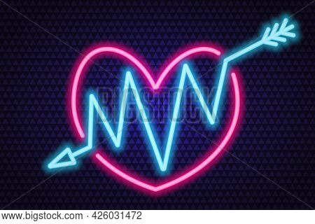 An Arrow Pierces The Heart. Neon Glow. Colored Vector Illustration. Isolated Background Of Purple Tr