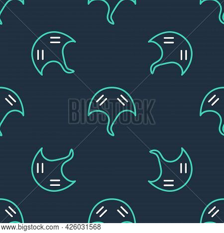Line Stingray Icon Isolated Seamless Pattern On Black Background. Vector