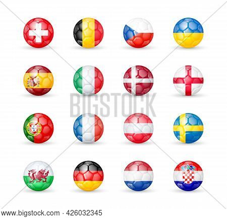 Icons Of 16 Countries Of The Best National Football Teams 2020 - 2021 Based On The Results Of Contes