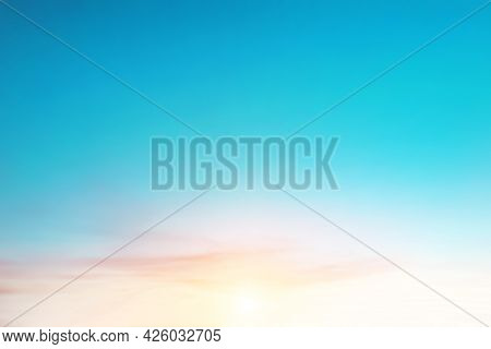 Blur Pastels Gradient Sunset Background On Soft Nature Sunrise Peaceful Morning Beach Outdoor. Heave