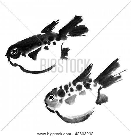 Chinese painting of swellfish on white background.