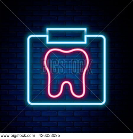 Glowing Neon Line X-ray Of Tooth Icon Isolated On Brick Wall Background. Dental X-ray. Radiology Ima