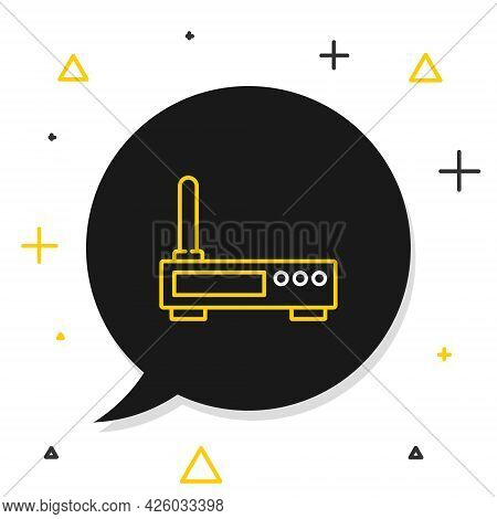 Line Router And Wi-fi Signal Icon Isolated On White Background. Wireless Ethernet Modem Router. Comp