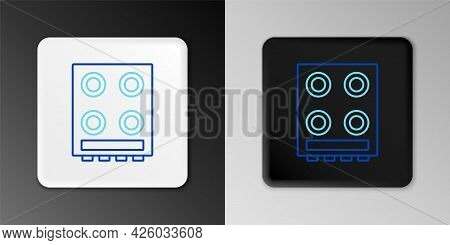 Line Gas Stove Icon Isolated On Grey Background. Cooktop Sign. Hob With Four Circle Burners. Colorfu