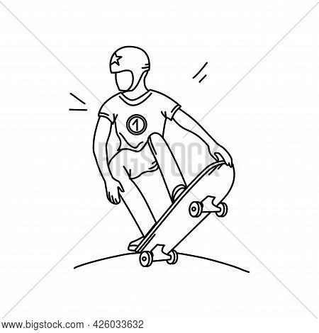 Skateboarder In The Outline Style. A Teenager On A Skateboard. Vector Illustration.