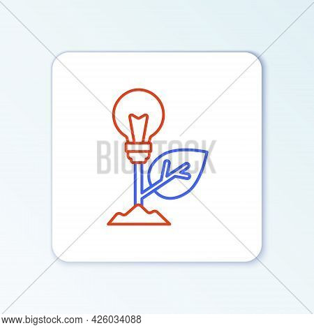 Line Light Bulb With Leaf Icon Isolated On White Background. Eco Energy Concept. Alternative Energy