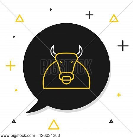 Line Bull Icon Isolated On White Background. Spanish Fighting Bull. Colorful Outline Concept. Vector