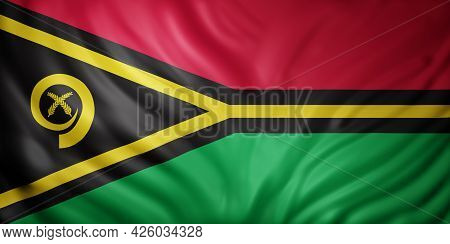 3d Rendering Of A Detail Of A Silked Vanuatu Flag