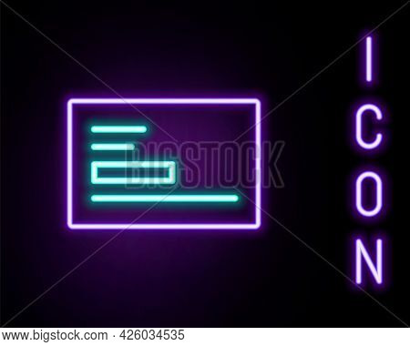 Glowing Neon Line Visiting Card, Business Card Icon Isolated On Black Background. Corporate Identity